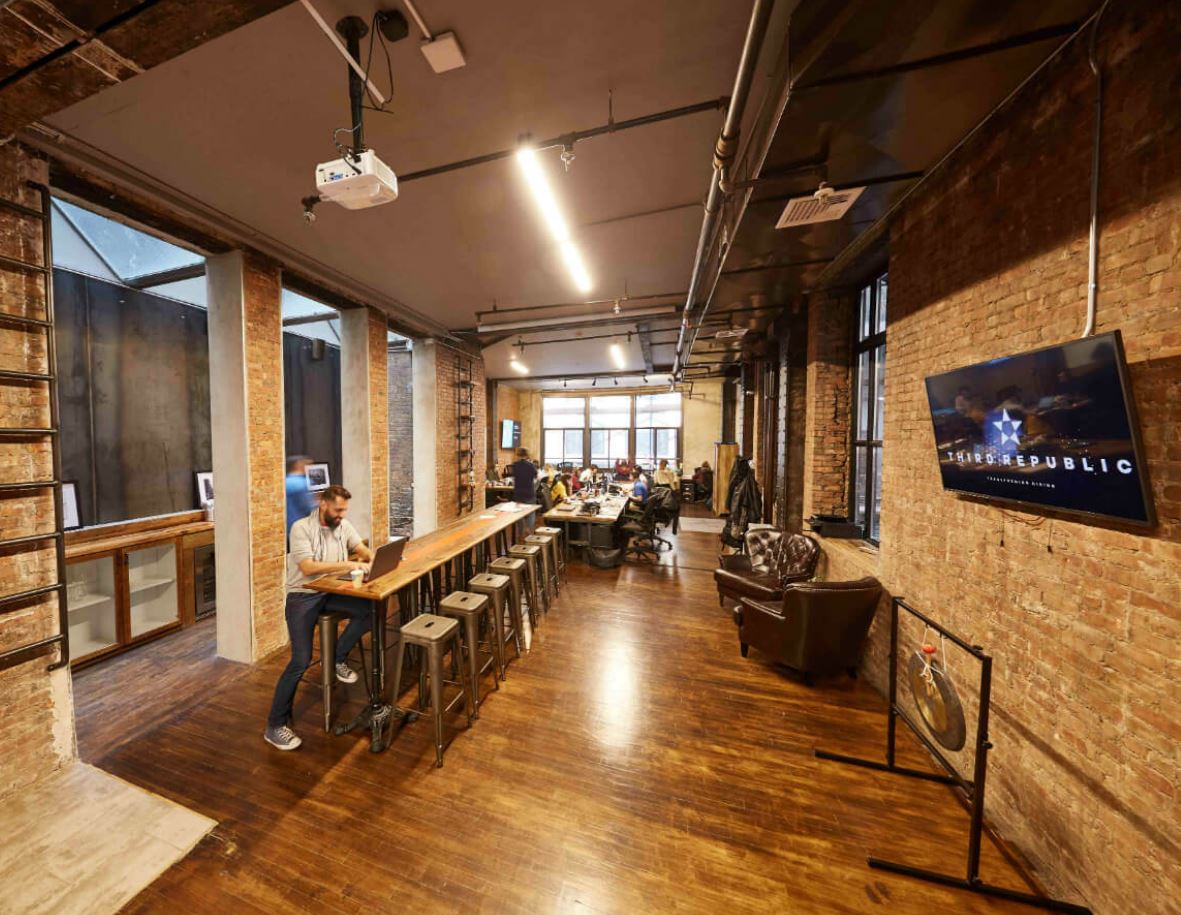 coworking space with exposed brick
