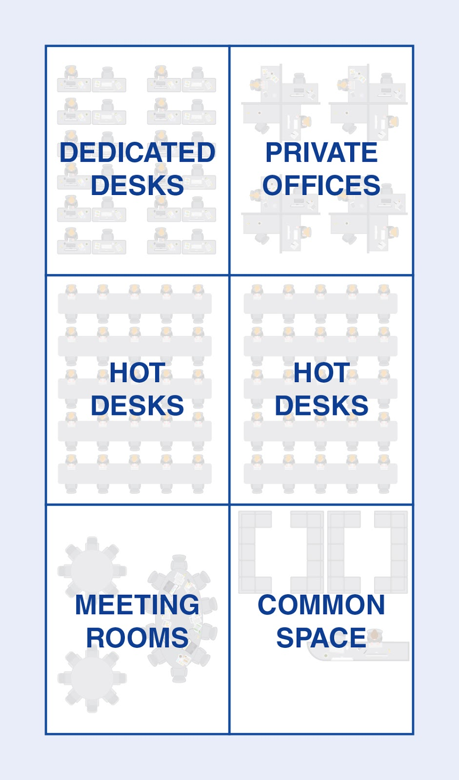 illustration of coworking desk layout