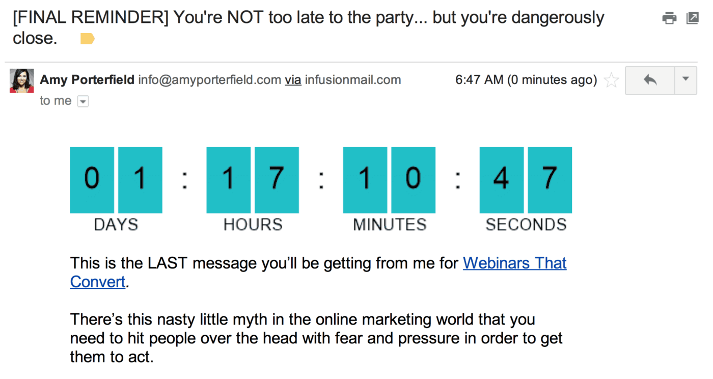 email marketing urgency tactic