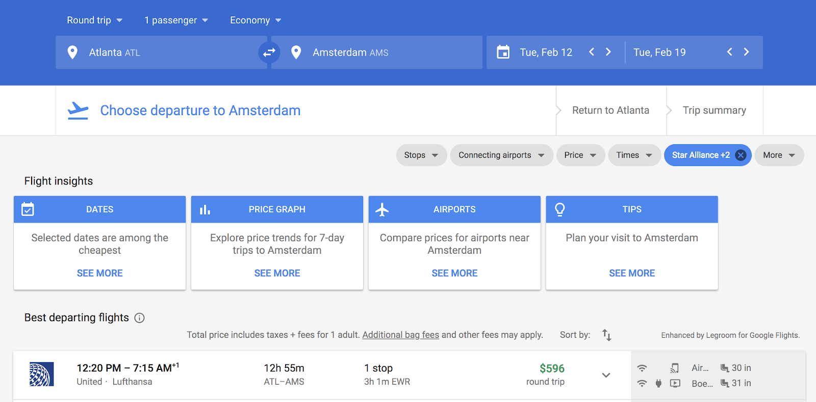 Google Flights sample search