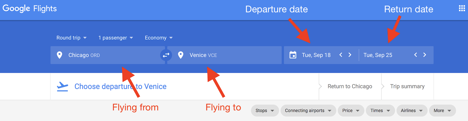 Google Flights how to select departure and arrival airports cities
