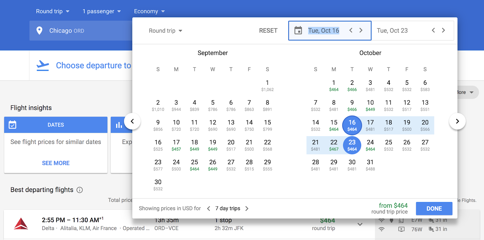 Google Flights calendar view