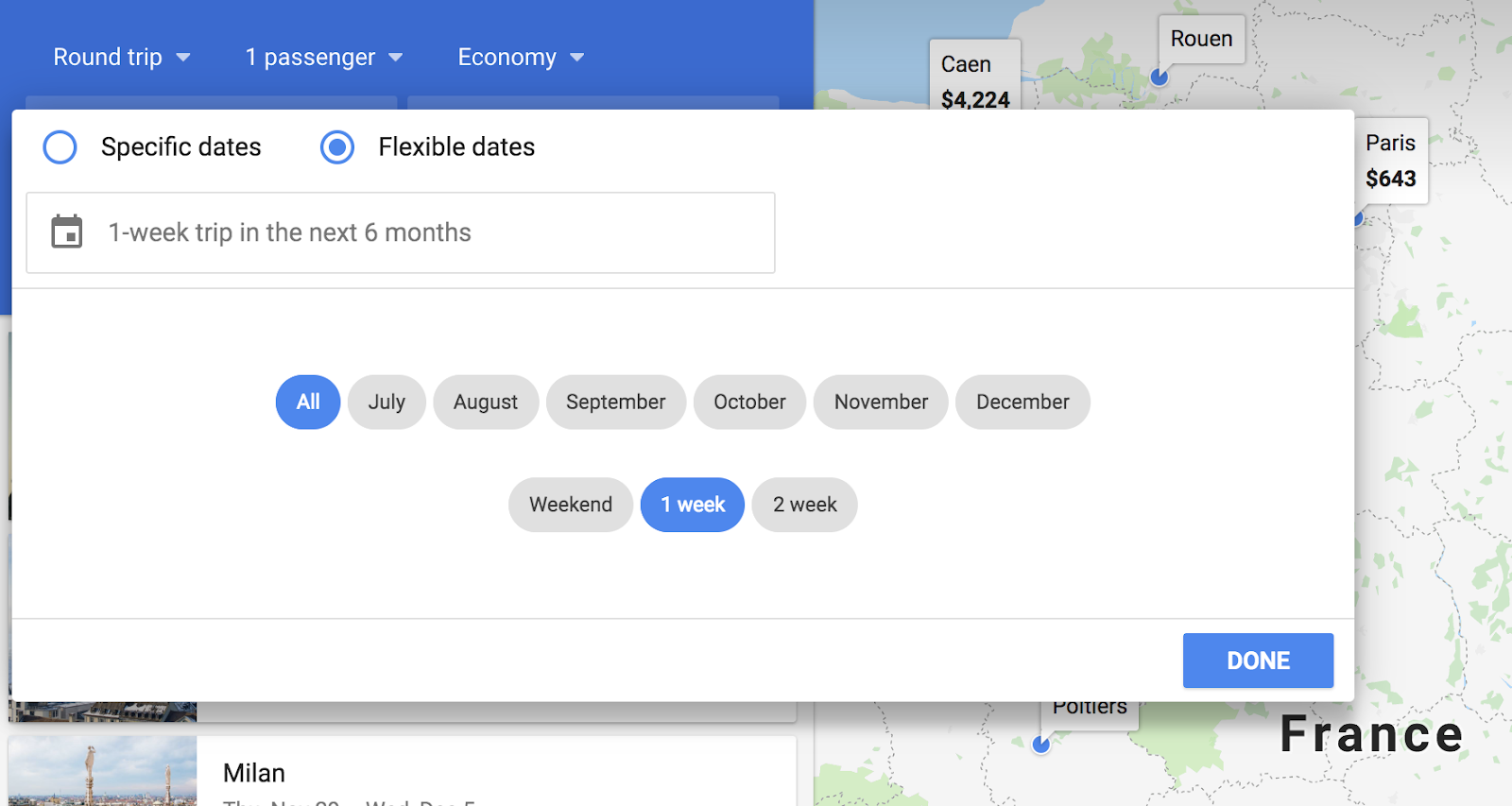 How to use Google Flights flexible dates