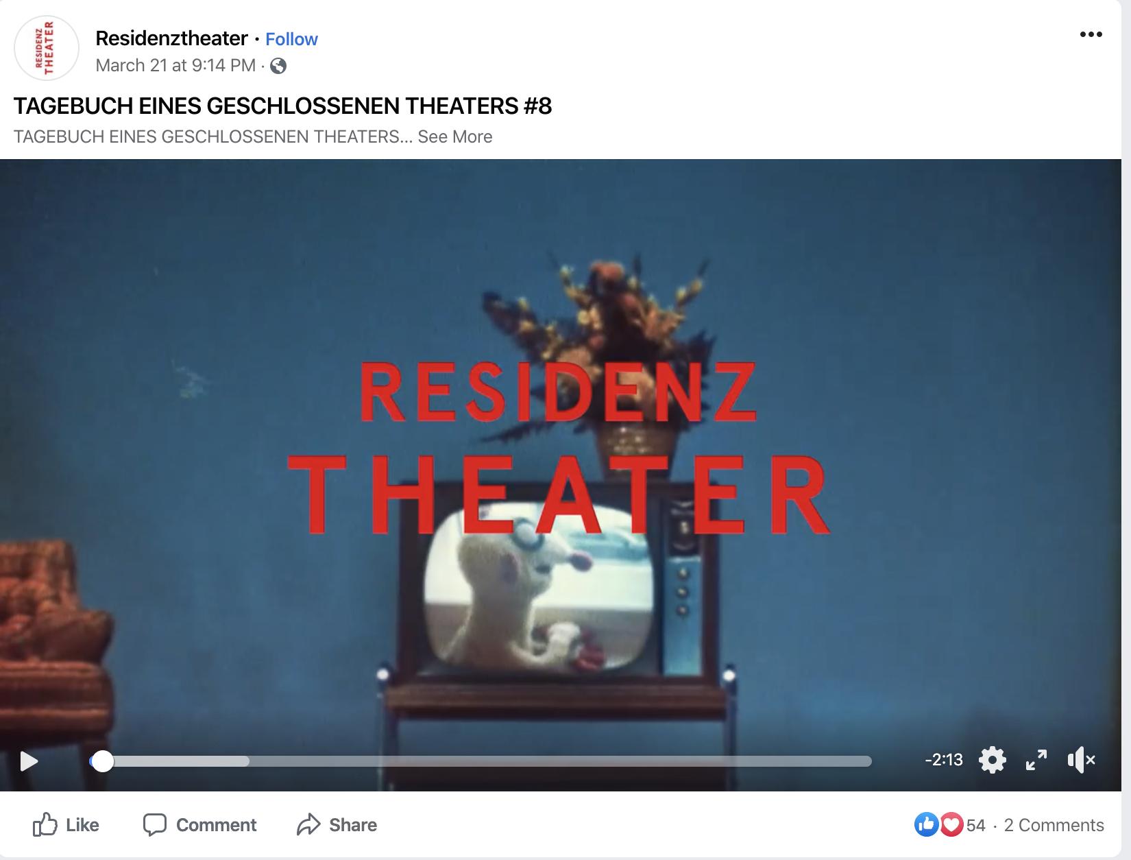 """Residenztheater zeigt """"Tagebuch eines geschlossenen Theaters"""". Purposeful in dem Sinn, als dass es als Kulturinstitution die Kommunikation mit seinem Publikum aufrecht erhält und durch unterhaltsame Clips das Leben ein bisschen besser macht."""
