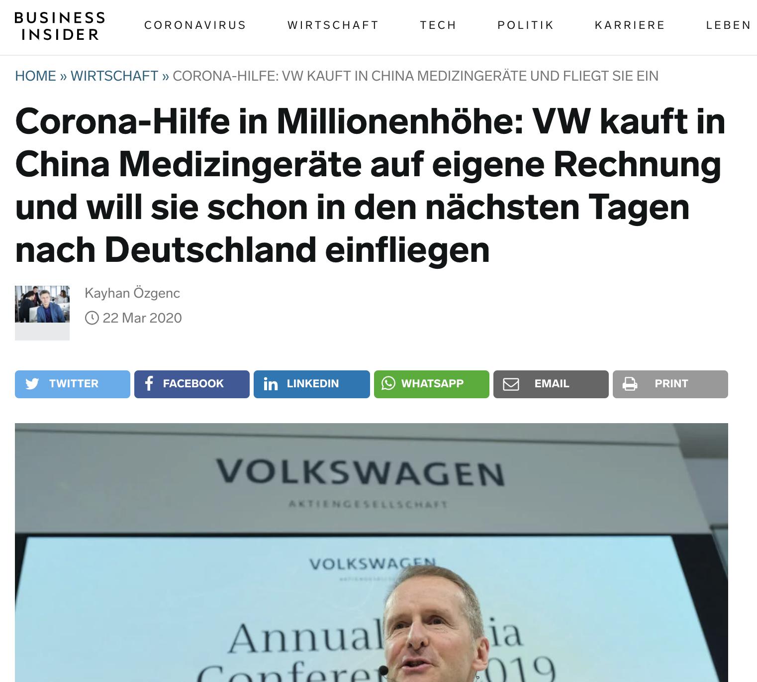Corona Hilfe: VW kauft in China Medizingeräte