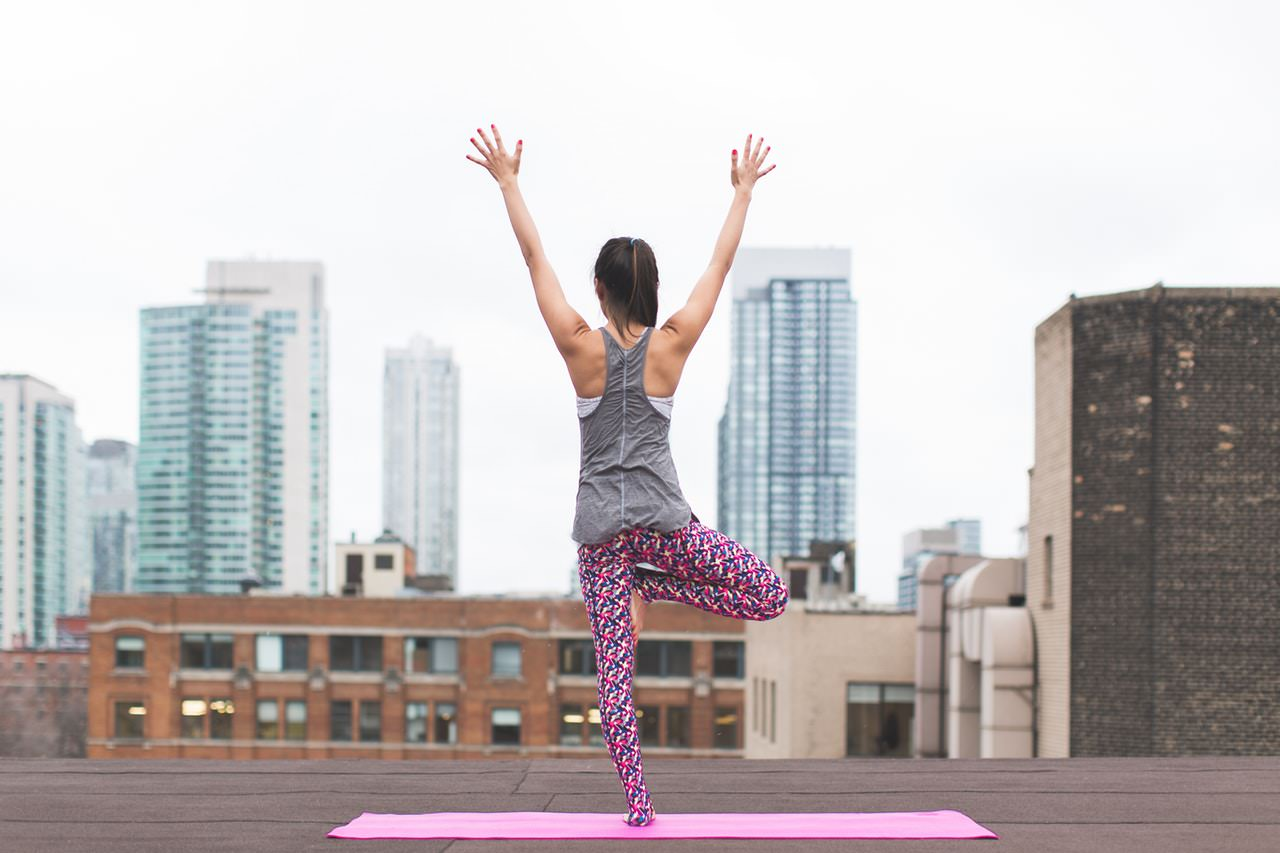 Yoga pose on roof top