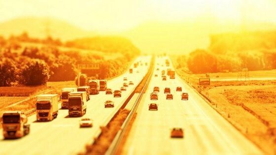 Extreme heat on motorway