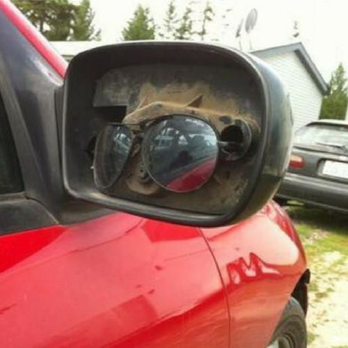 Sunglasses used for car wing mirror repair