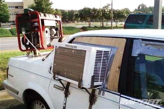 Car with DIY aircon unit attached