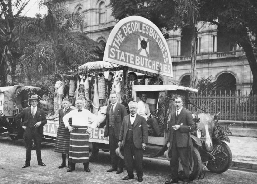Butchers posing at Brisbane Labour Day Rally in 1920