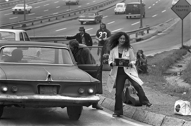 Old photo of hitchhikers