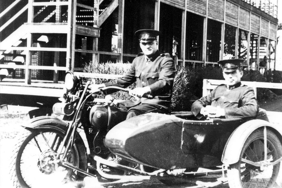 Vintage Harley Davidson police motorbike with sidecar in Brisbane