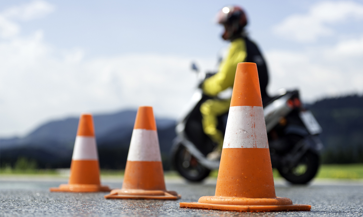 Motorcycle training course with cones