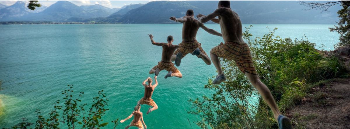 Cliff jumping on holiday