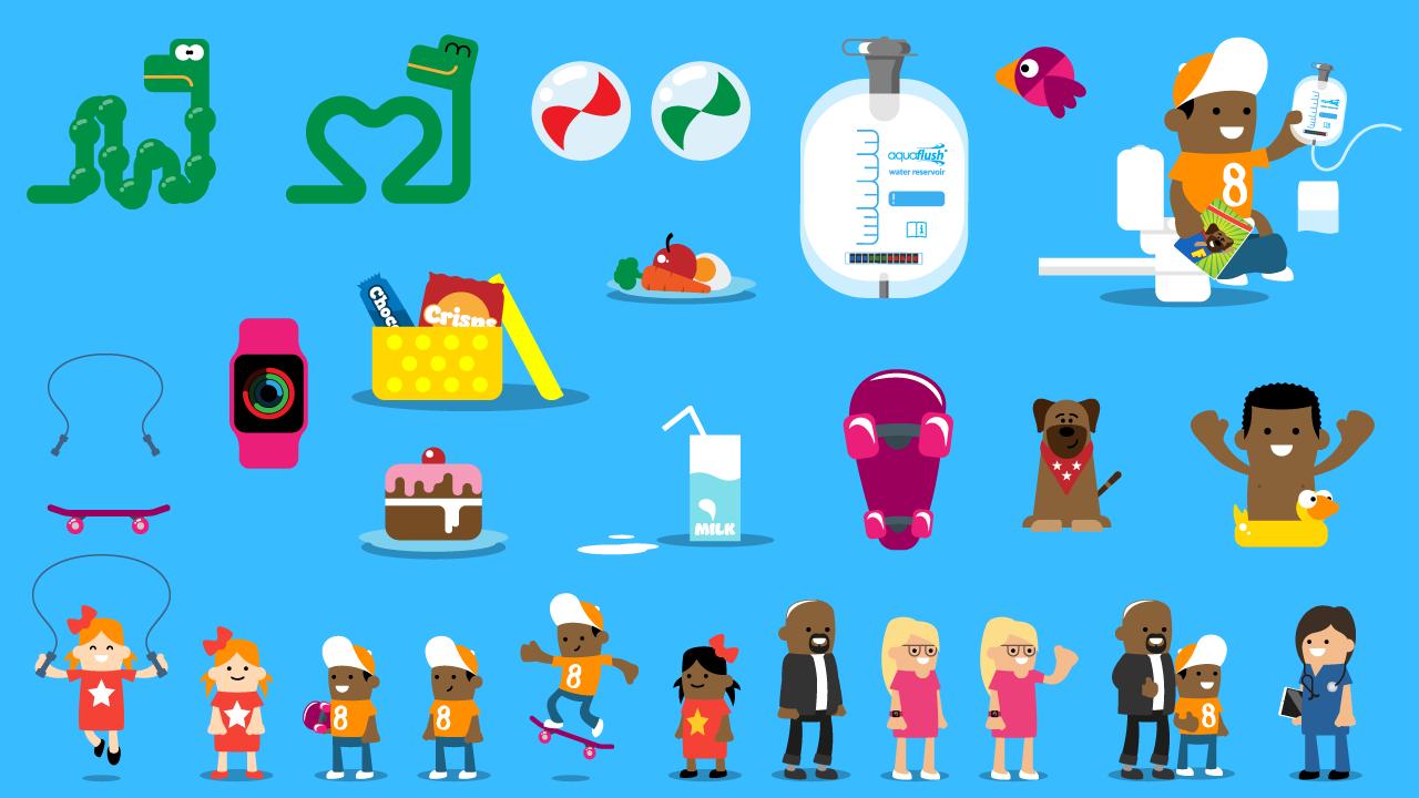 Aquaflush Medical brightly colored illustrations