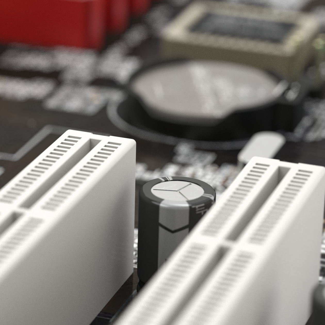 Close up render of a computer motherboard focusing on a capacitor