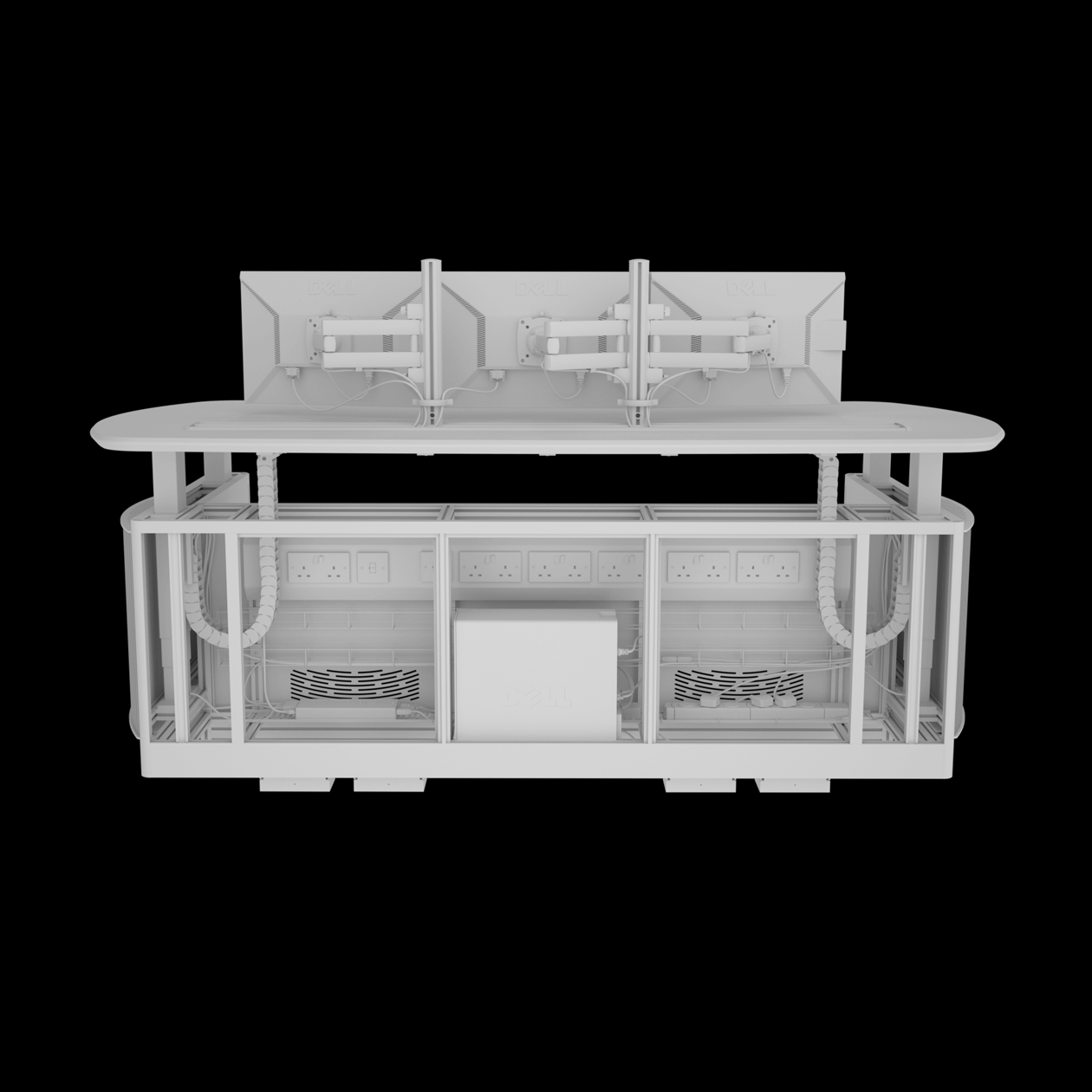 Shaded render of a desk made of framework showing cable management