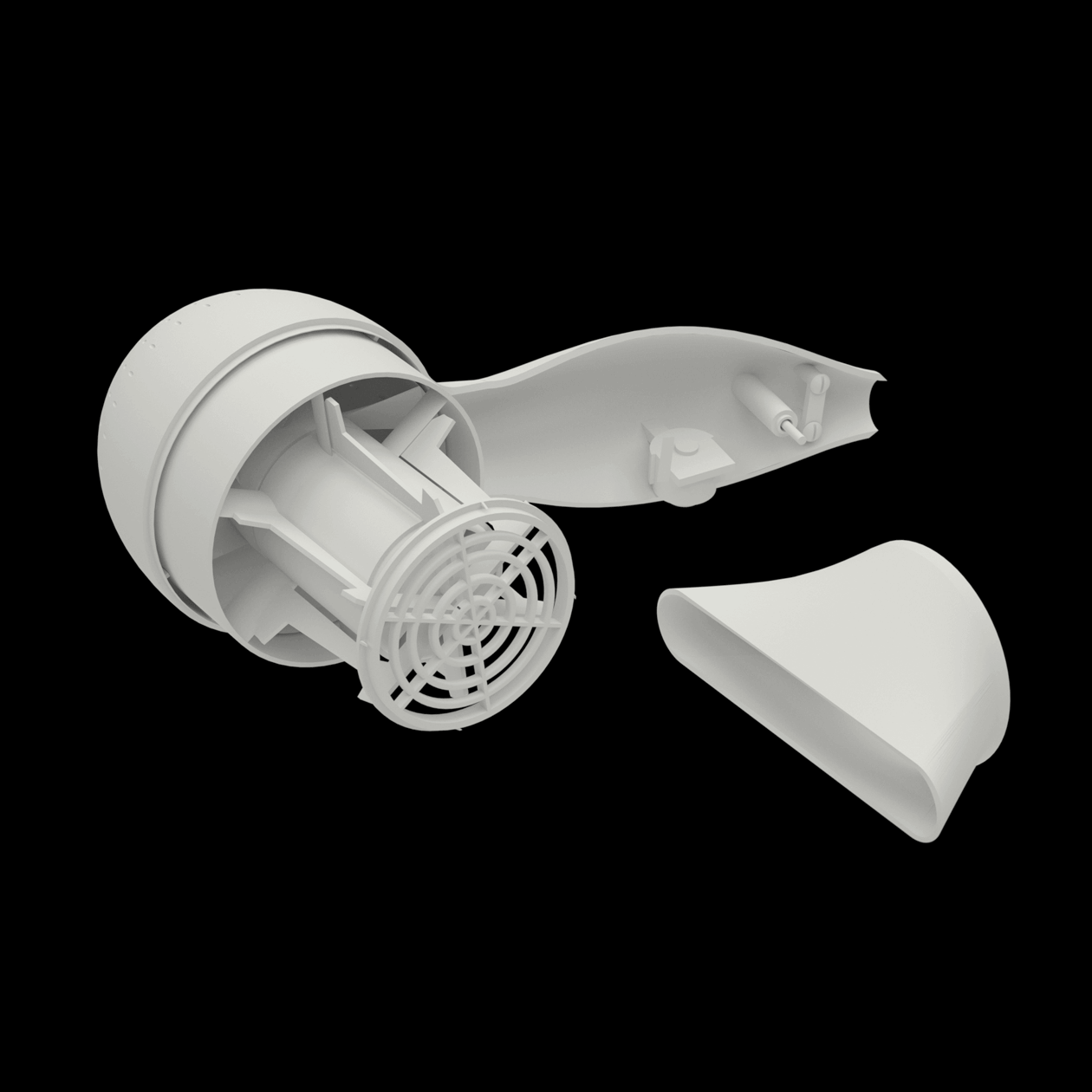 A shaded render of a hairdryer showing the internal components