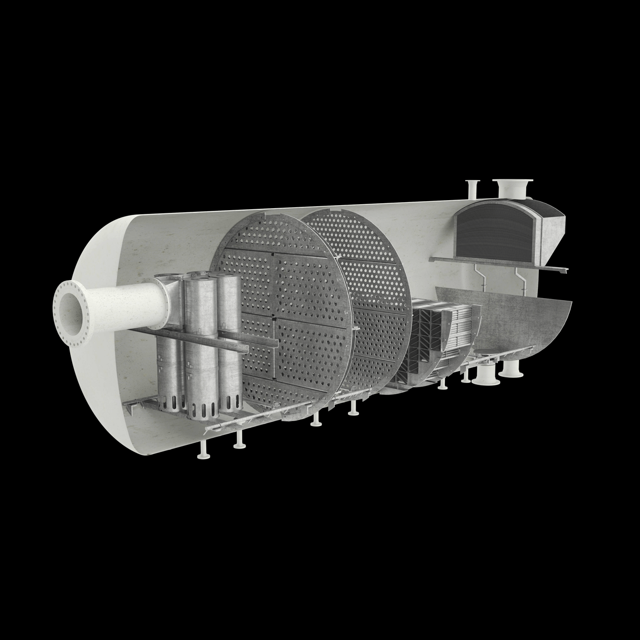 A vessel render sliced in half showing all the separation equipment inside