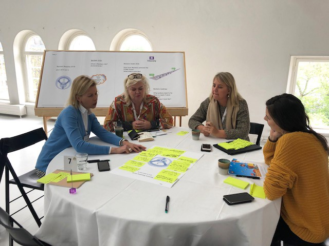 Four women sitting and working together at Beckers stakeholder workshop 2019
