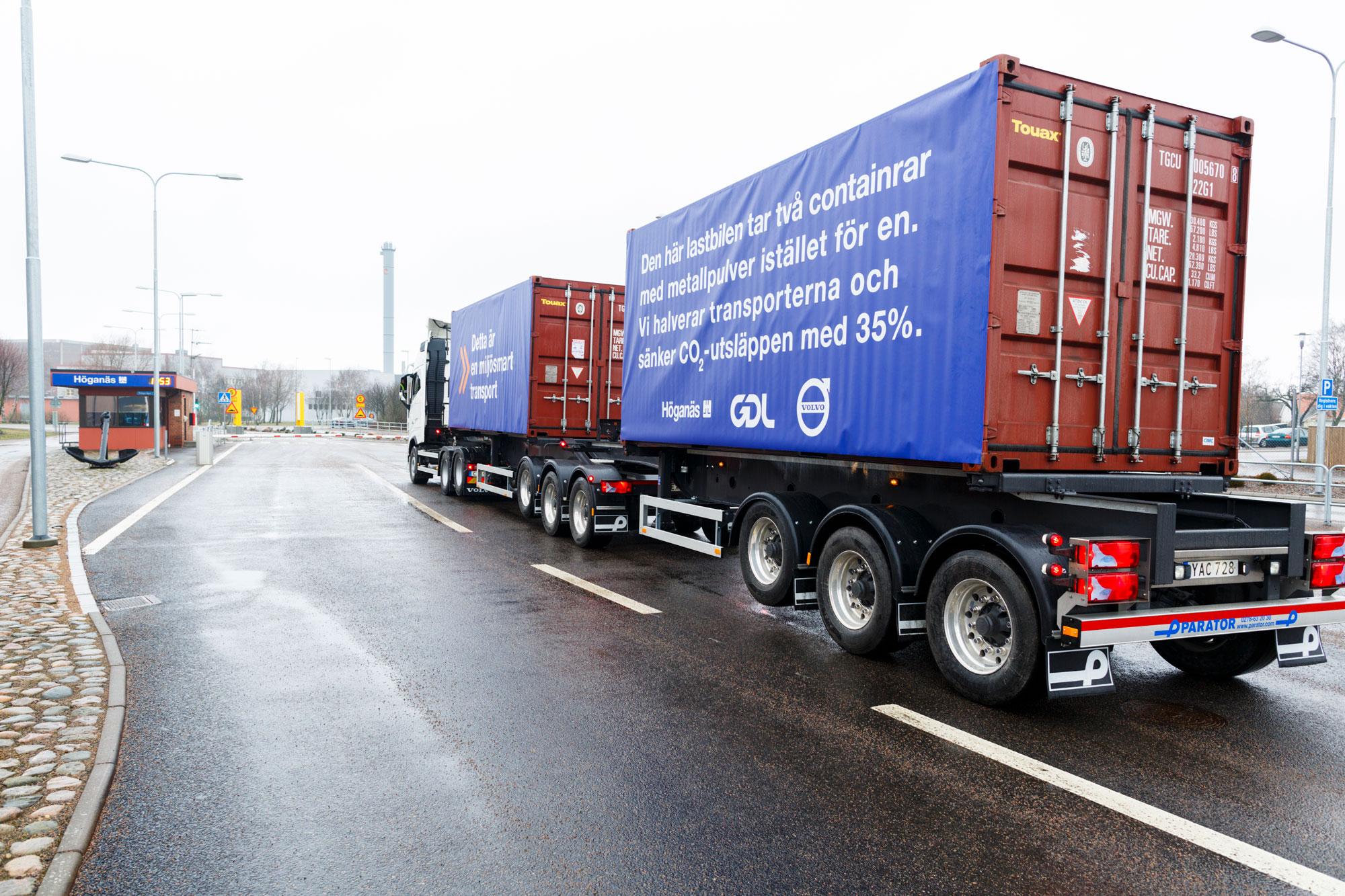 Höganäs' Longer Heavier Vehicle (LHV) truck