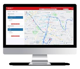 Pantalla computador app Detektor RoutePlanner