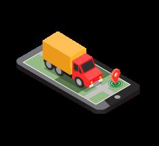 isometrico celular camion mapa localizacion