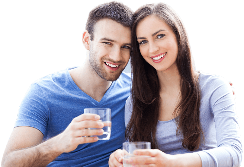 Young couple with water