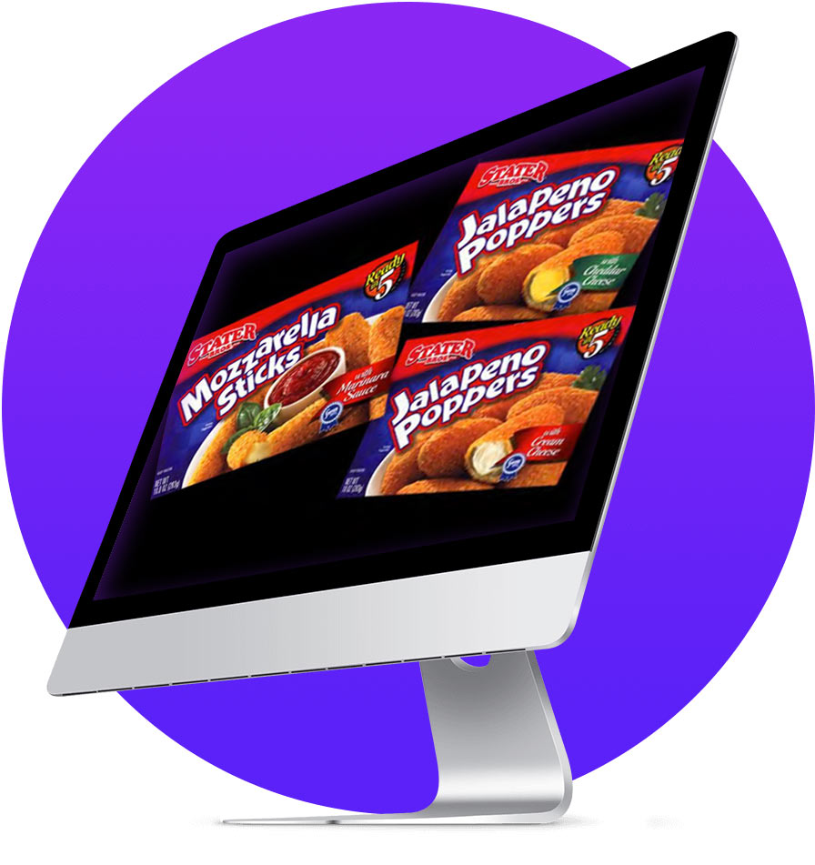 computer screen with packaging sample graphic