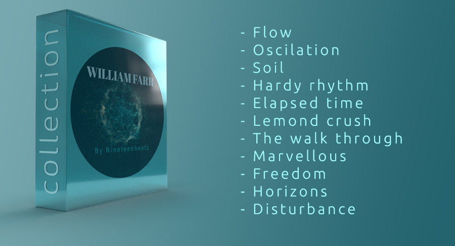 William Farr, album collection volume one, 11 songs gathered and delivered in two high quality file formats, .MP3 and .WAV