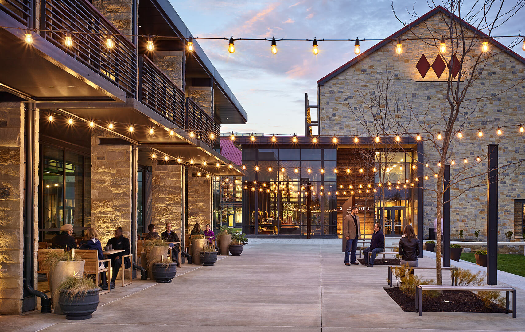 Courtyard of Sagamore Spirit Distillery in Baltimore, MD