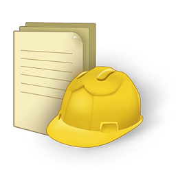 Hard hat with documents
