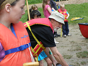 Instructor and Participants at Learn to Canoe, a Family Event