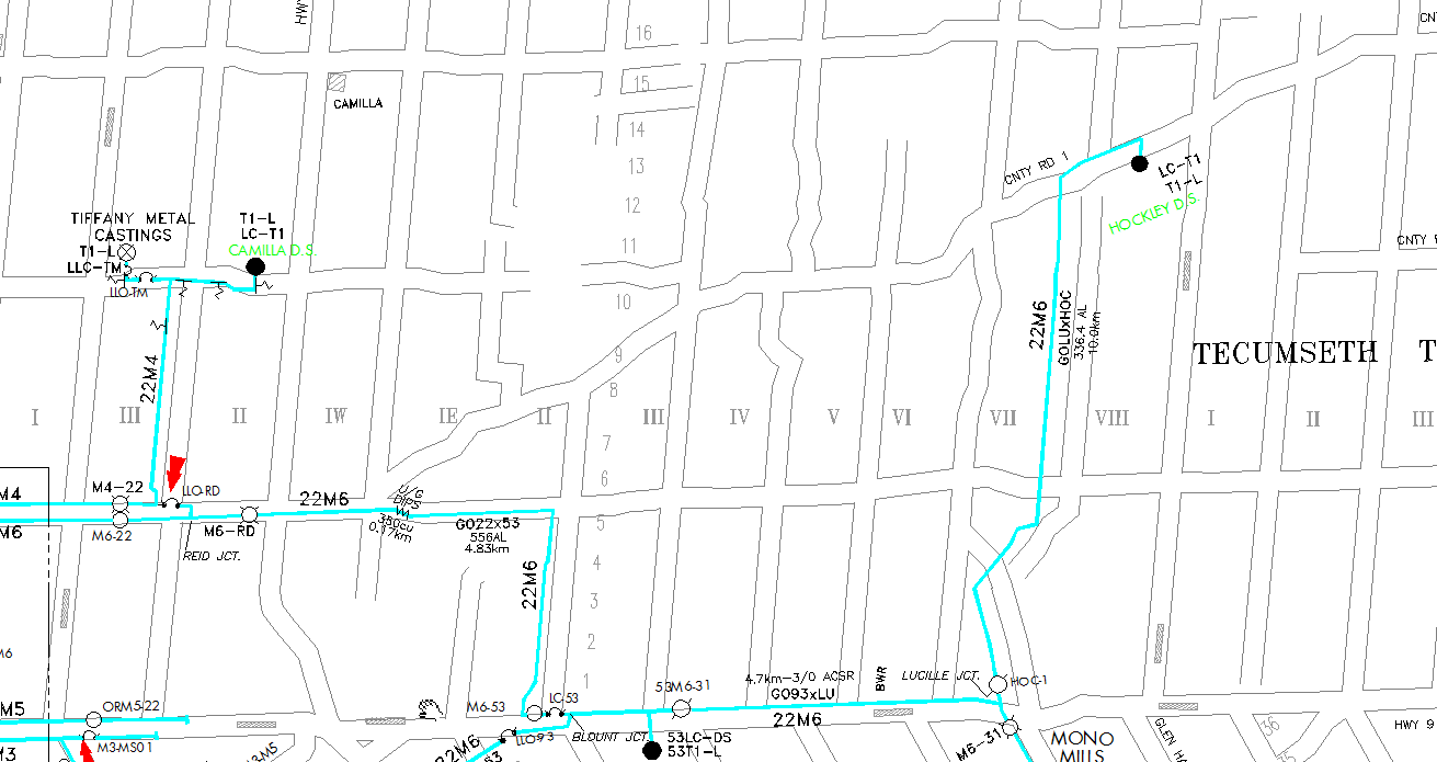 Map 1 showing Hydro One routine maintenance plan