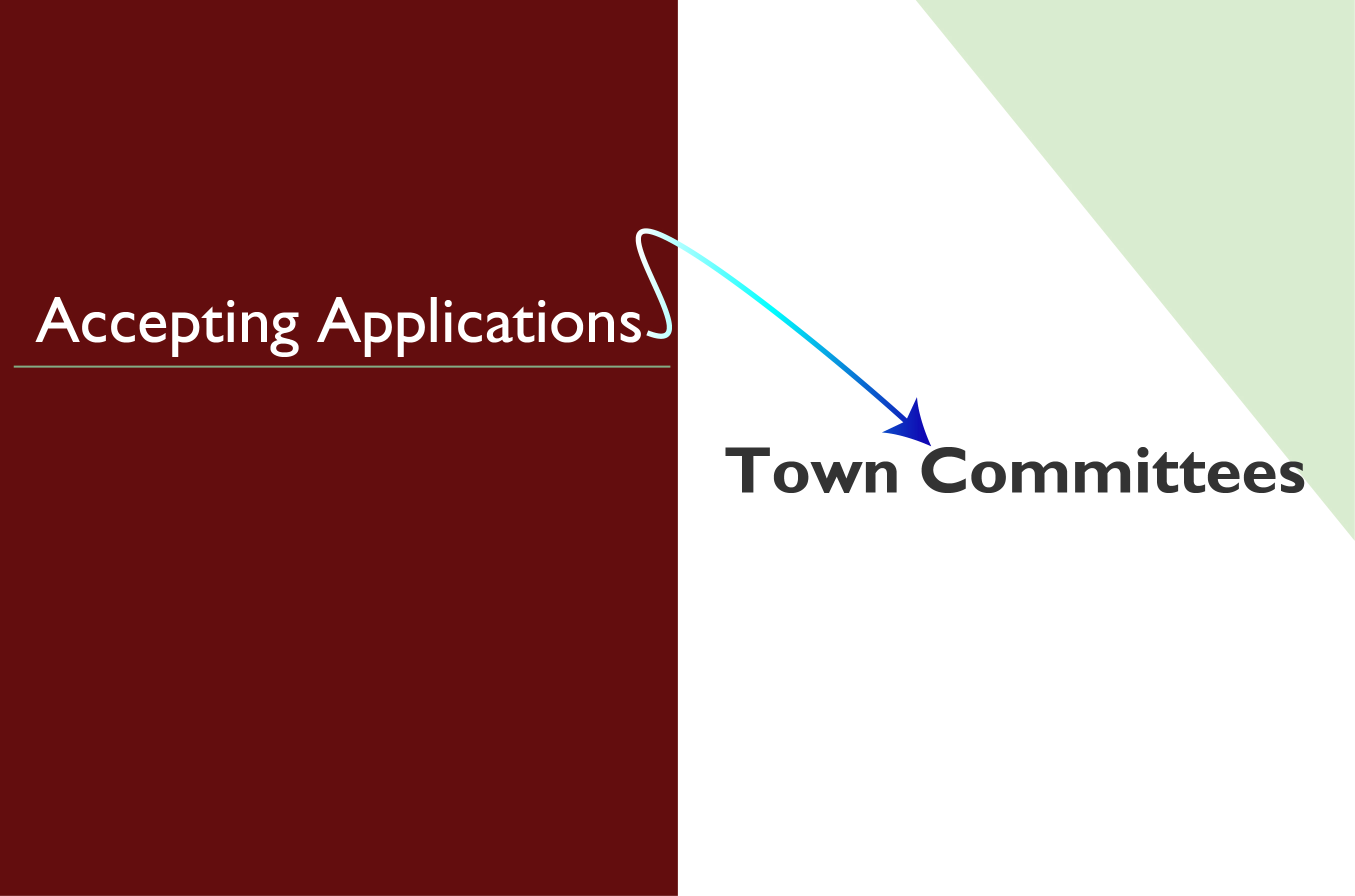 "Accepting Applications Graphic: Half brown background and a half white background with a green triangle in the corner. Text reads, ""Accepting Appplications"" on the brown and ""Town Committees"" on the right."
