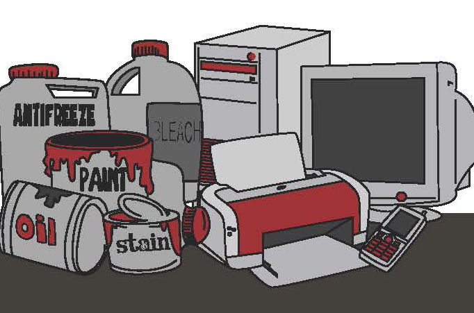 Examples of hazardous and electronic waste, including a computer, printer, paint, antifreeze, and a mobile phone