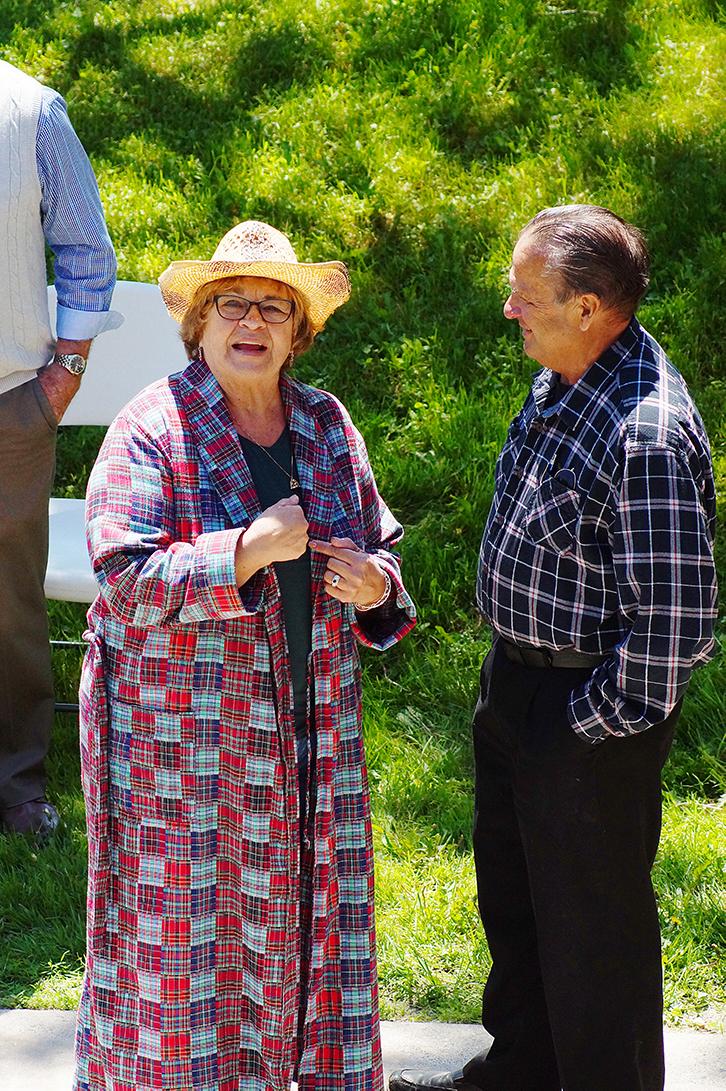 Councillor and man wearing plaid