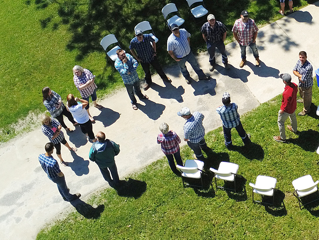 Aerial view of group wearing plaid