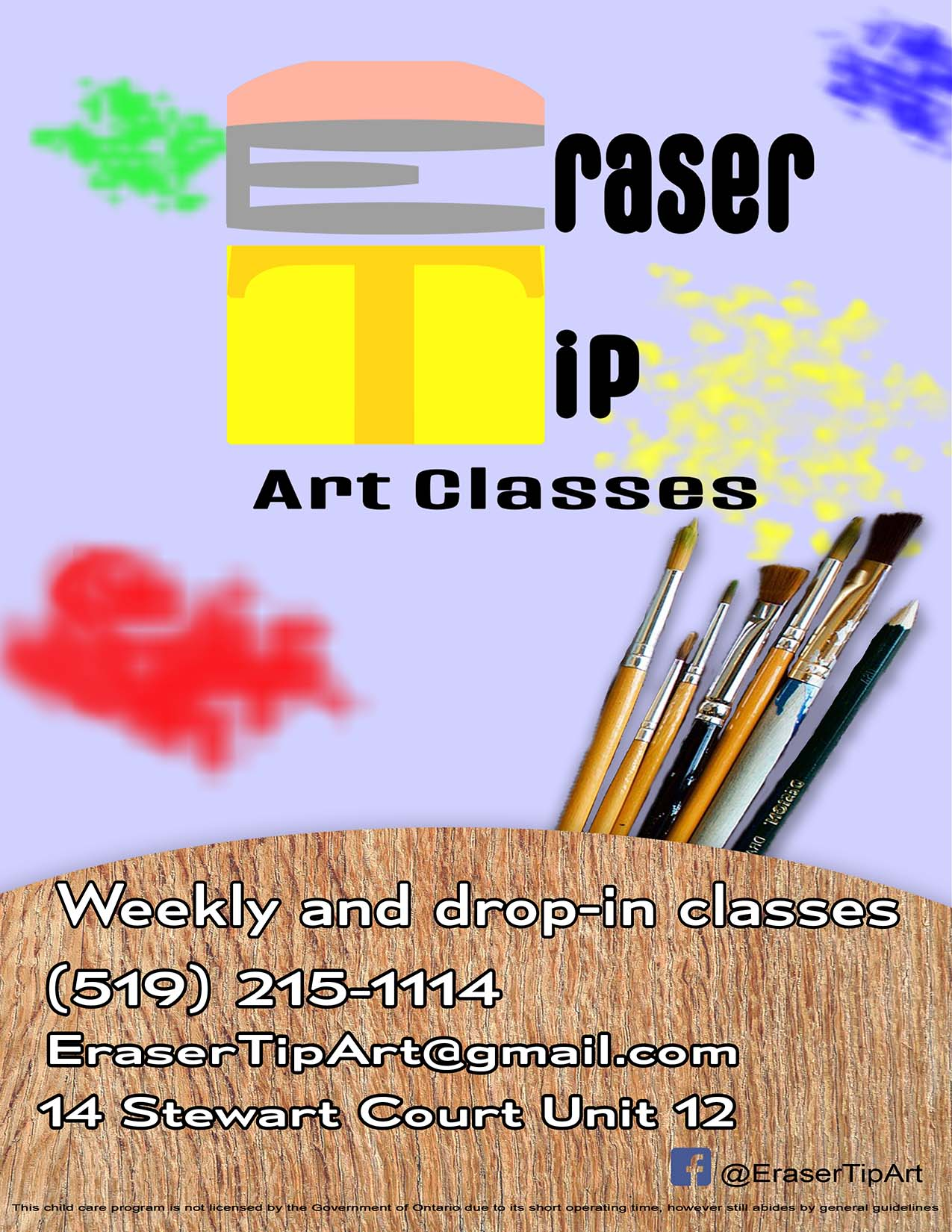 Eraser Tip Art Classes Poster - Paint splotches and paint brushes with information about available classes