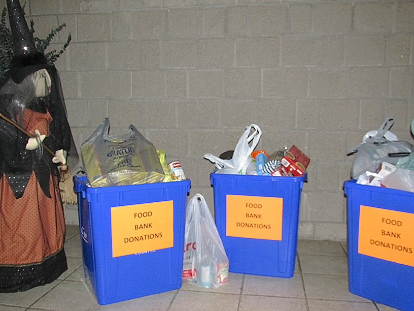 Bins of donated food for the food bank