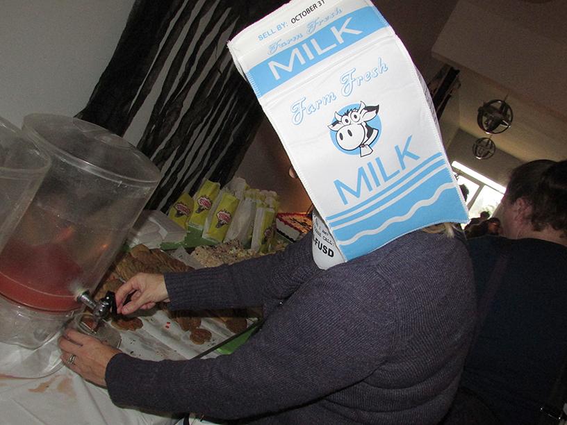 Adult in a milk carton Halloween costume