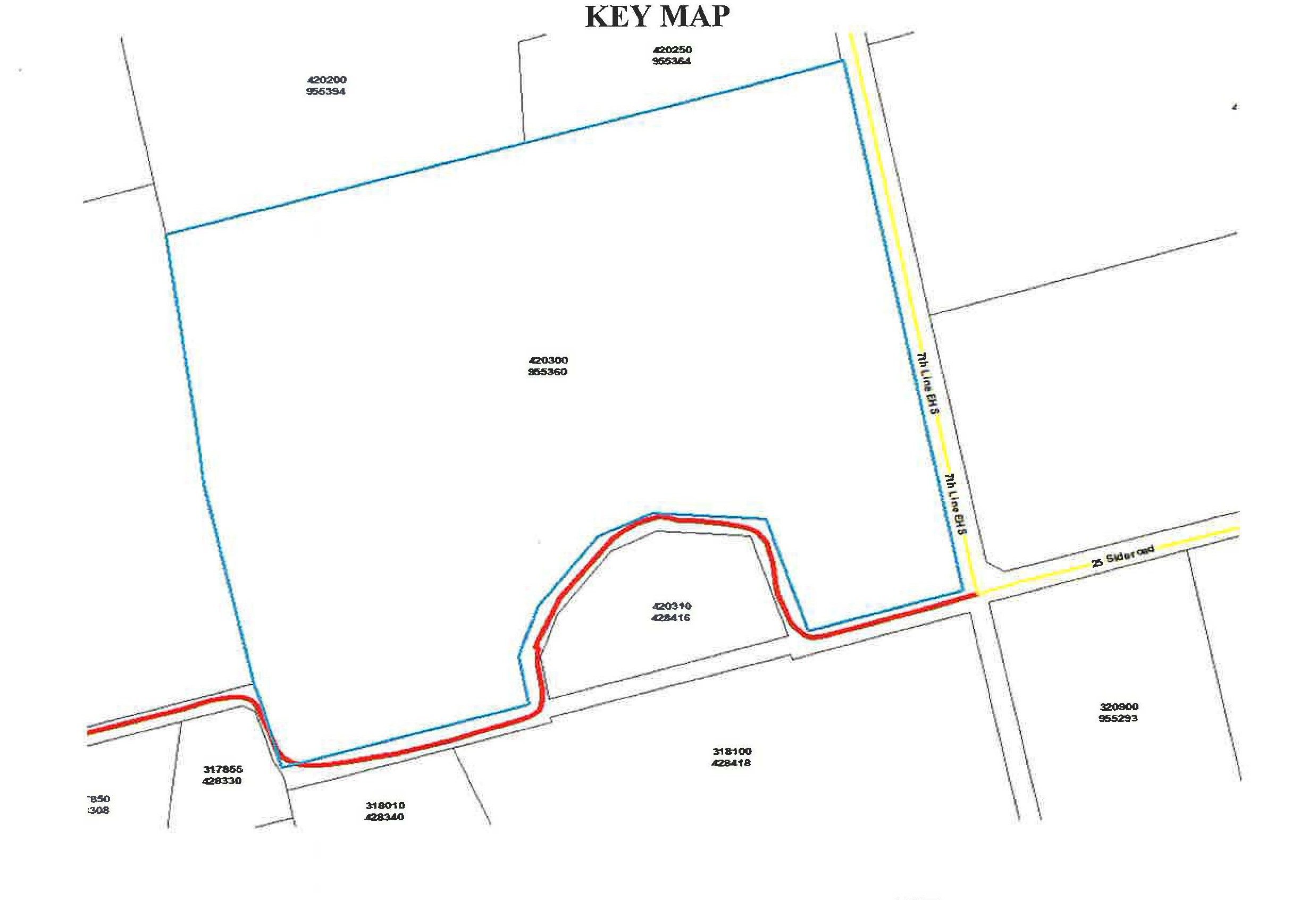 Key Map of Subject Land: Part of East Half of Lot 26 Concession 7 EHS 955360 7th Line EHS Mono