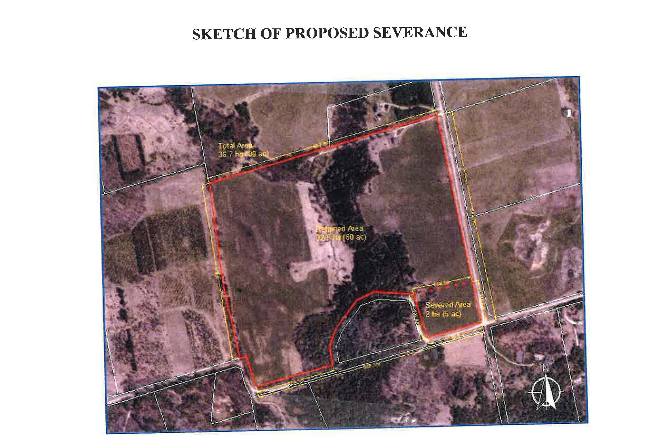 Sketch of Proposed Severance for Part of Easat Half of Lot 26 Concession 7 EHS 955360 7th Line EHS