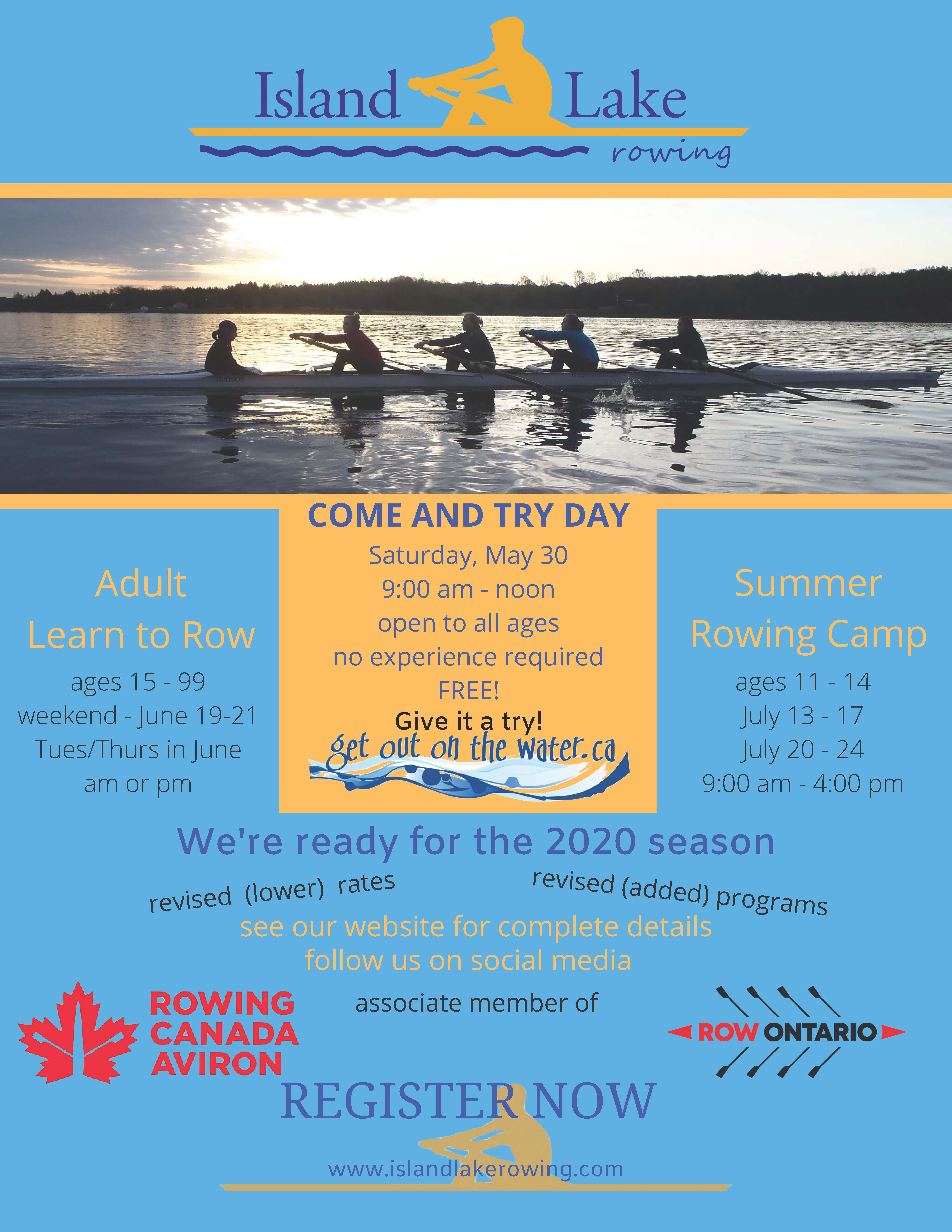 Island Lake Rowing Club Open House Poster