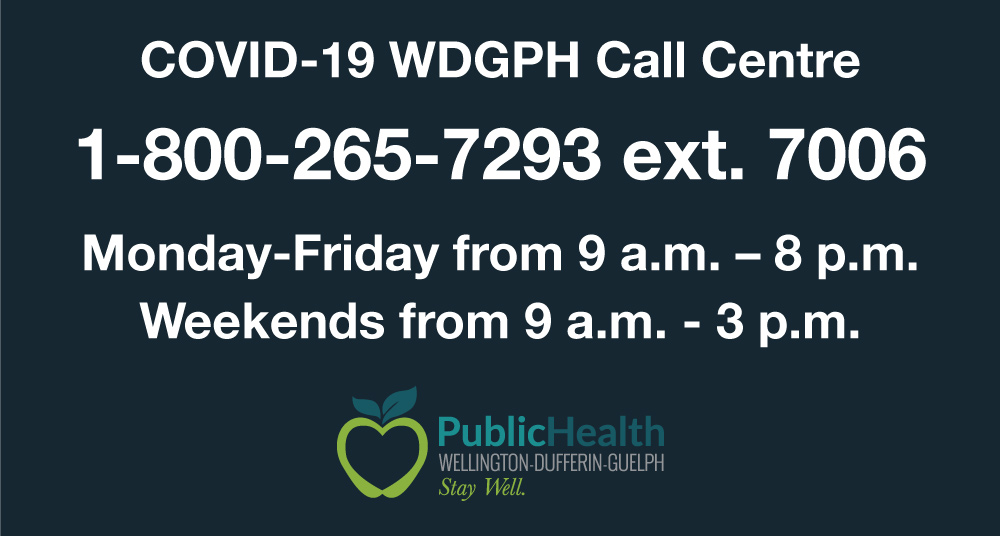 WDG Public Health COVID-19 Toll-free number and operating times
