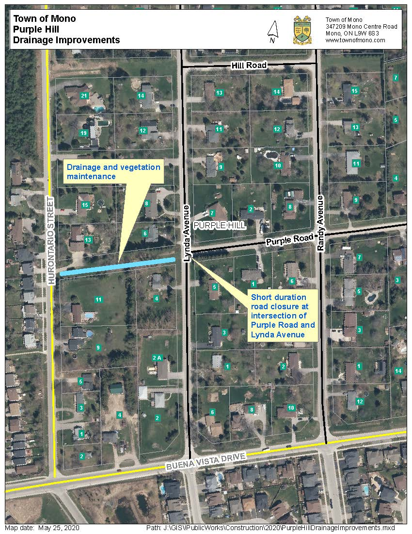 Map showing Purple Hill Drainage Improvements and the road closure at Purple Road and Lynda Avenue