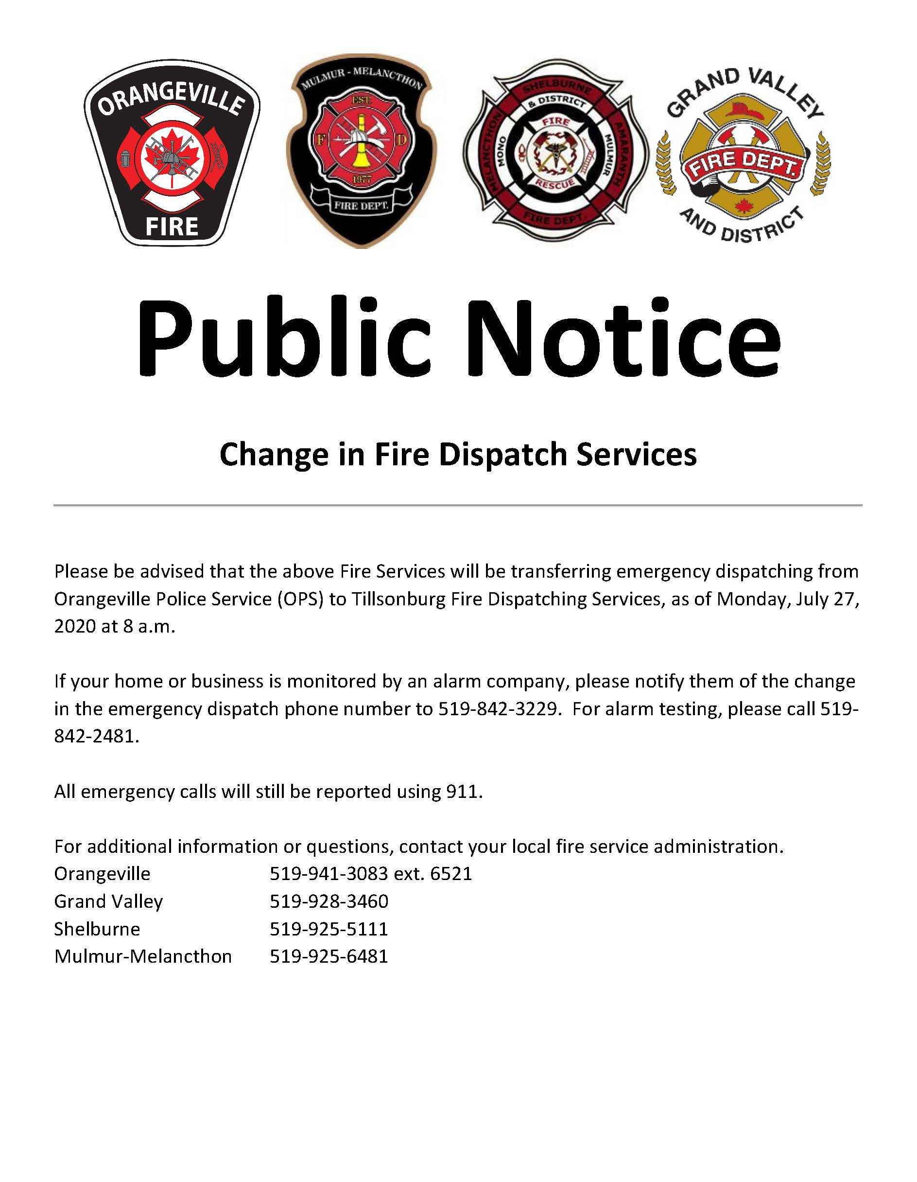 Fire Dispatch Public Notice Image with .pdf download link