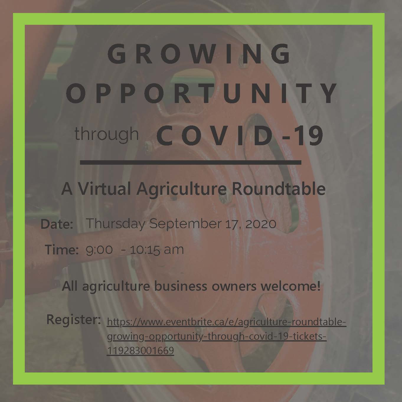 Virtual Agriculture Roundtable Promotional Poster