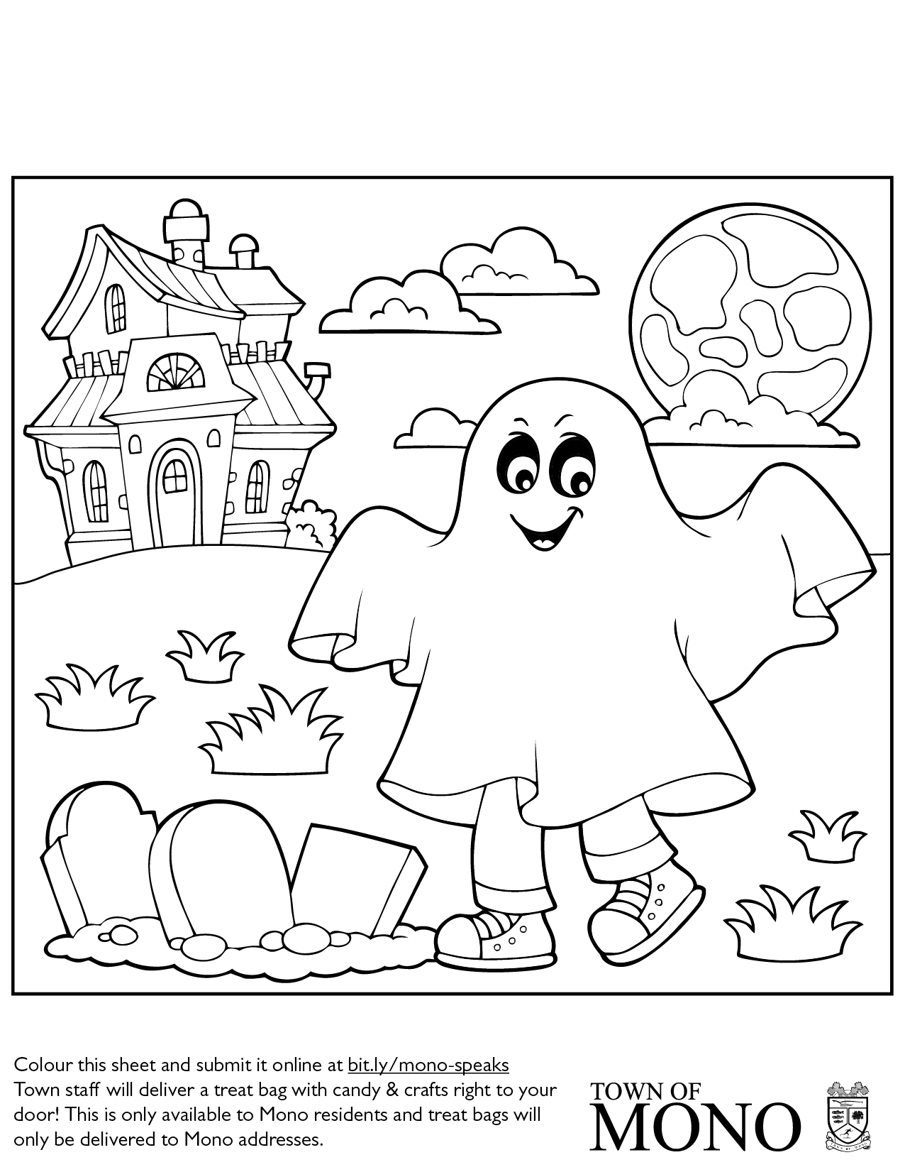 Colouring sheet: trick-or-treating ghost with haunted house, moon, and graves.