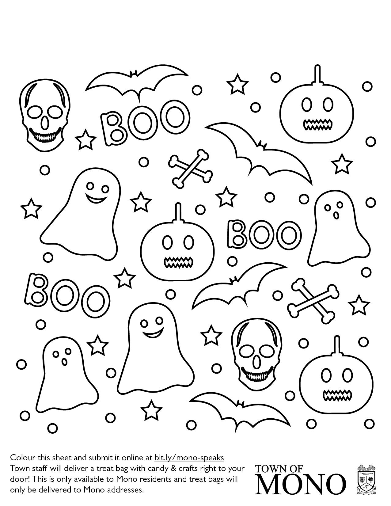 Colouring sheet: ghosts, pumpkins, skulls, etc.